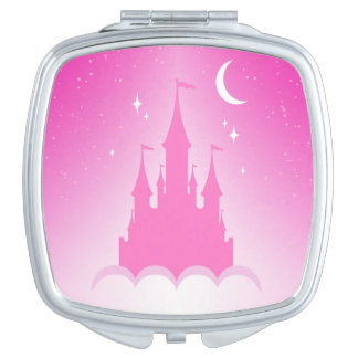 Pink Dreamy Castle In The Clouds Starry Moon Sky Vanity Mirror