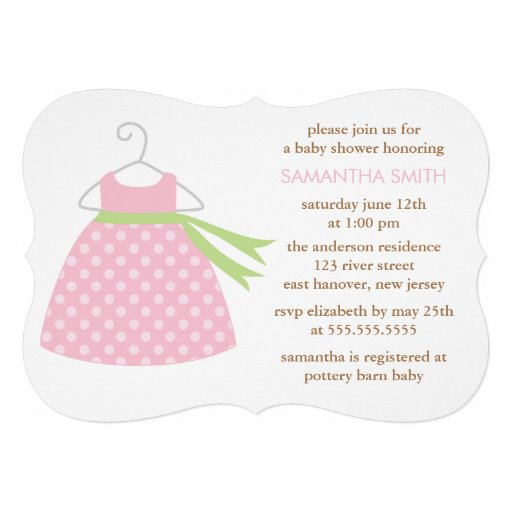 Pink Dress Baby Shower Personalized Invitation