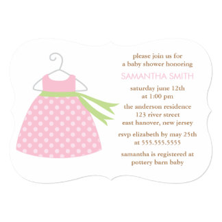 Pink Dress Baby Shower 5x7 Paper Invitation Card