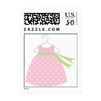 Pink Dress Baby Shower Stamps