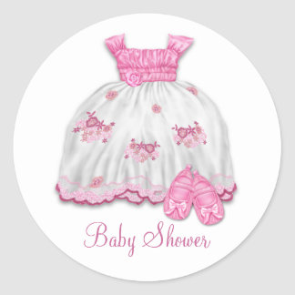 Pink Dress Booties Baby Shower Classic Round Sticker