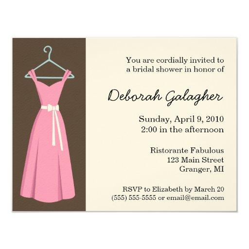 Pink Dress Bridal Shower Invitations