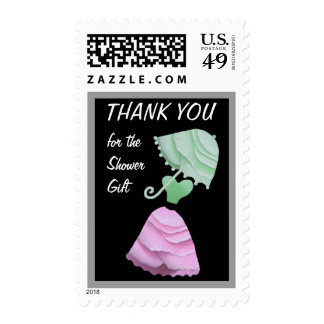 PINK Dress MINT Umbrella Thank You Shower Gift Stamp