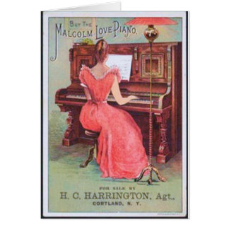 Pink Dress Piano Player Card