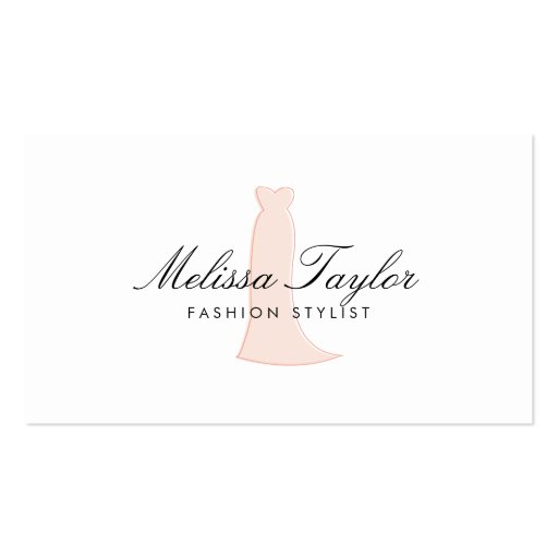 Pink Dress Sketch Fashion Stylist, Boutique Business Card Template
