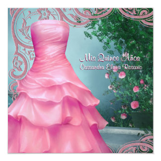 Pink Dress Teal Blue Pink Roses Quinceanera Card