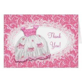 Pink Dress White Pink Swirl Baby Shower Thank You Greeting Card