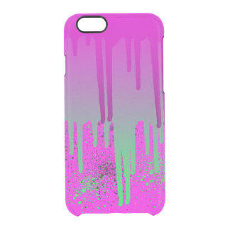 Pink Drippin' Paint Clear iPhone 6/6S Case
