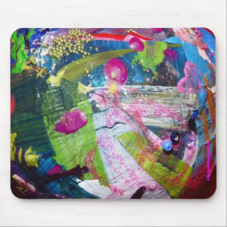 Pink Drops on Lime Green & White Mouse Pad
