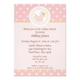 Pink Duck Baby Shower 5x7 Paper Invitation Card