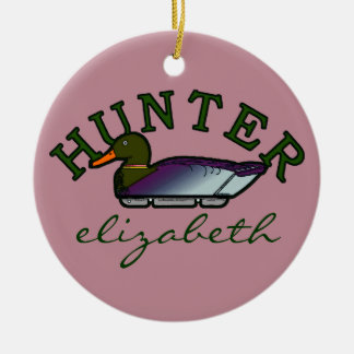 Pink Duck Hunter- Personalized Ceramic Ornament