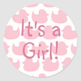 Pink Duck Pattern It's A Girl Round Stickers