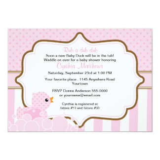 Pink Duck with Bubbles Girls Baby Shower Invite