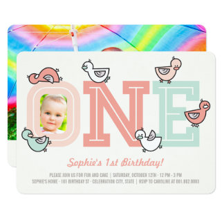 Pink Ducks Big One Girl 1st Birthday Party Invite