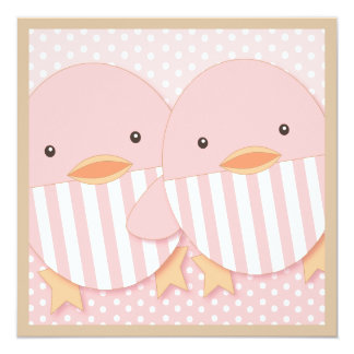 Pink Ducky Twin Girls Baby Shower Card