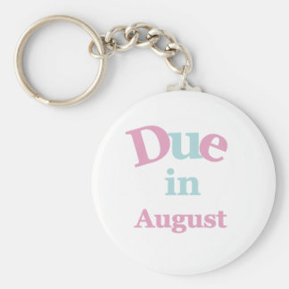 Pink Due in August Keychain