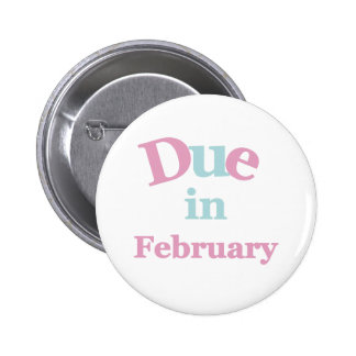 Pink Due in February 2 Inch Round Button