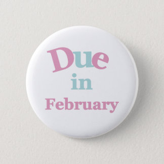 Pink Due in February Pinback Button