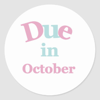 Pink Due in October Classic Round Sticker