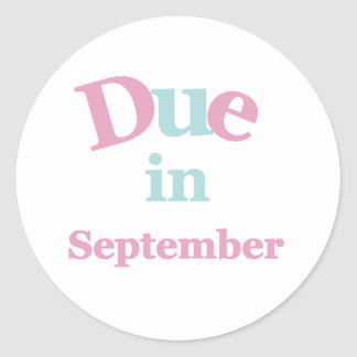 Pink Due in September Classic Round Sticker