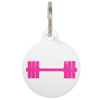 Pink Dumbbell / Barbell Pet Name Tag
