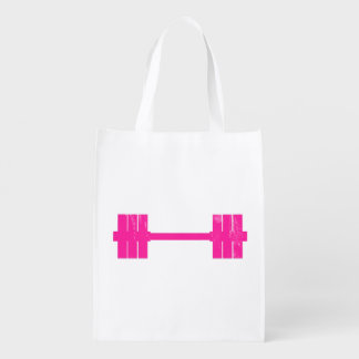 Pink Dumbbell / Barbell Reusable Grocery Bag