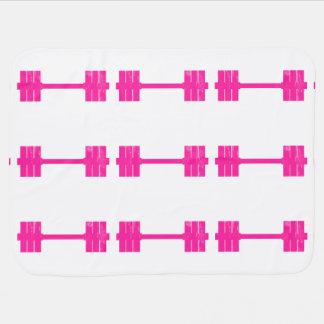 Pink Dumbbell / Barbell Stroller Blankets