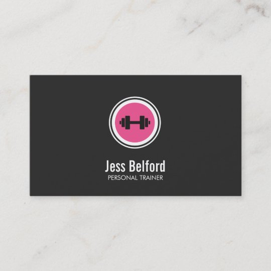 Pink dumbbell logo personal trainer fitness gym business card pink dumbbell logo personal trainer fitness gym business card colourmoves