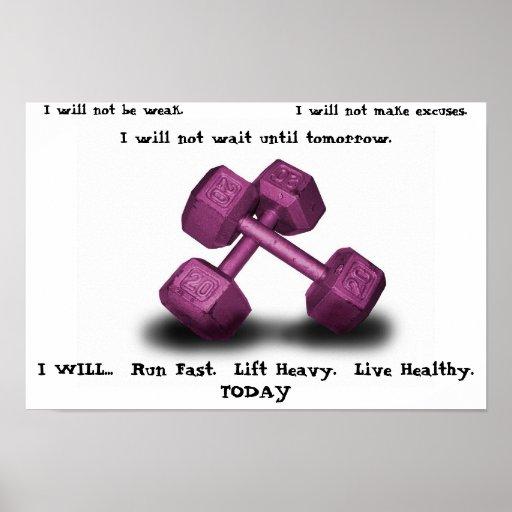 Pink Dumbbells Live healthy Poster