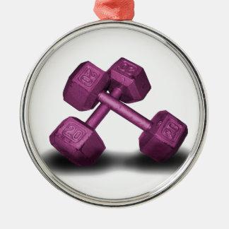 Pink Dumbbells Merchandise Round Metal Christmas Ornament