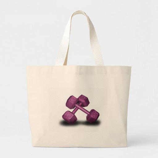 Pink Dumbbells Merchandise Tote Bags