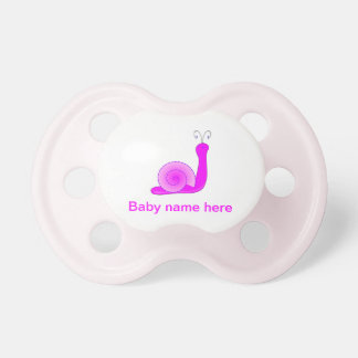 """Pink dummies for sweet girls """"motive for snail """" pacifier"""