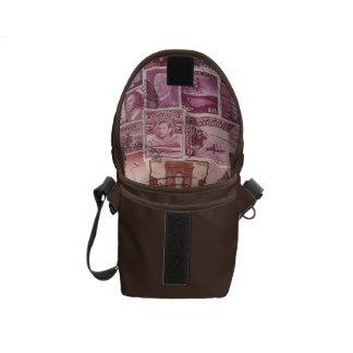 Pink Dusk Ombre Small Travel Bag, Stamp Art Messenger Bag