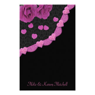 Pink Dusty Rose Baroque & Hearts Stationery