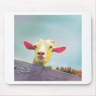 Pink-eared goat mouse pad