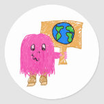 Pink Earth Round Stickers