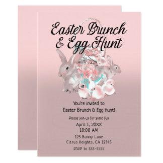 Pink Easter Brunch & Egg Hunt Spring Party Invitation