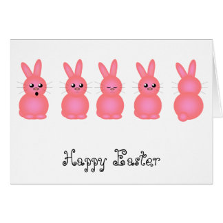 Pink Easter Bunnies Card