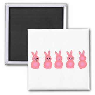 Pink Easter Bunnies 2 Inch Square Magnet