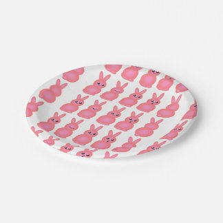 Pink Easter Bunnies Paper Plate