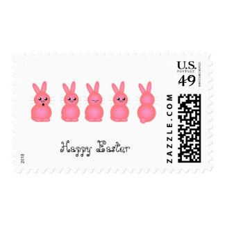 Pink Easter Bunnies Postage Stamp