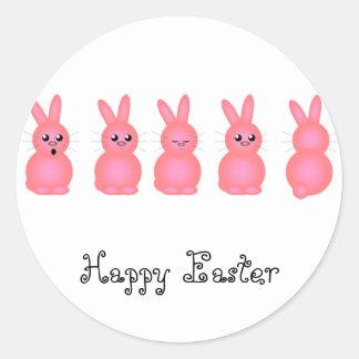 Pink Easter Bunnies Round Sticker