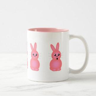 Pink Easter Bunnies Two-Tone Coffee Mug
