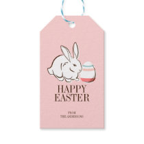 Pink Easter Bunny and Egg Happy Easter Gift Tag