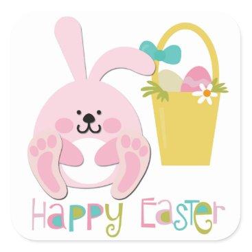 Pink Easter Bunny Basket Square Sticker