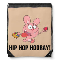 Pink Easter Bunny Carrying Colorful Easter Eggs Drawstring Bag