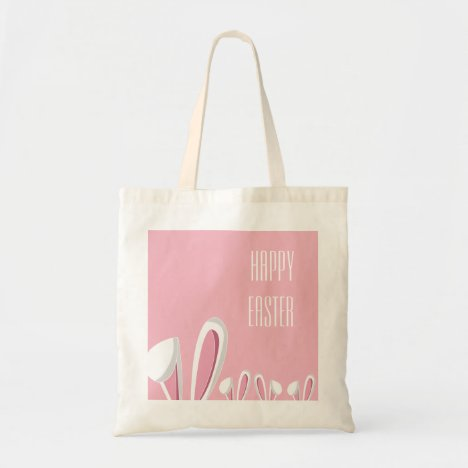 Pink Easter Bunny Ears, Happy Easter Tote