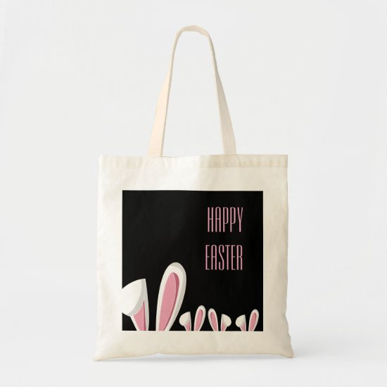 Pink Easter Bunny Ears on Blac , Happy Easter Tote