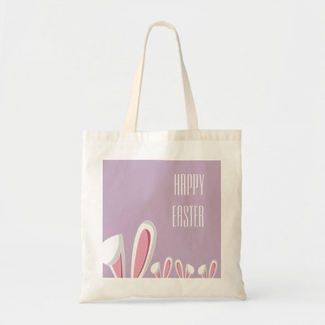 Pink Easter Bunny Ears on Purple  Easter Tote