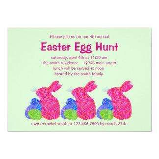 Pink Easter Bunny Easter Egg Hunt Party Invitation Cards